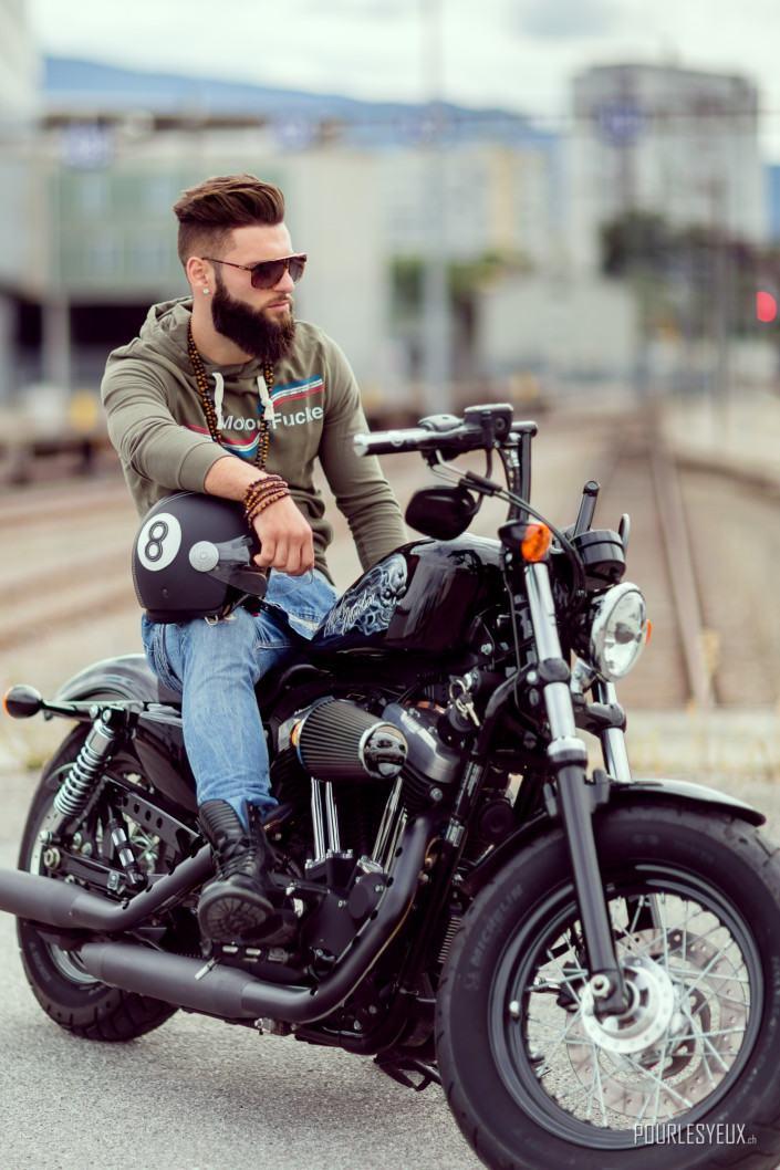 photographe geneve mode harley davidson moto exterieur