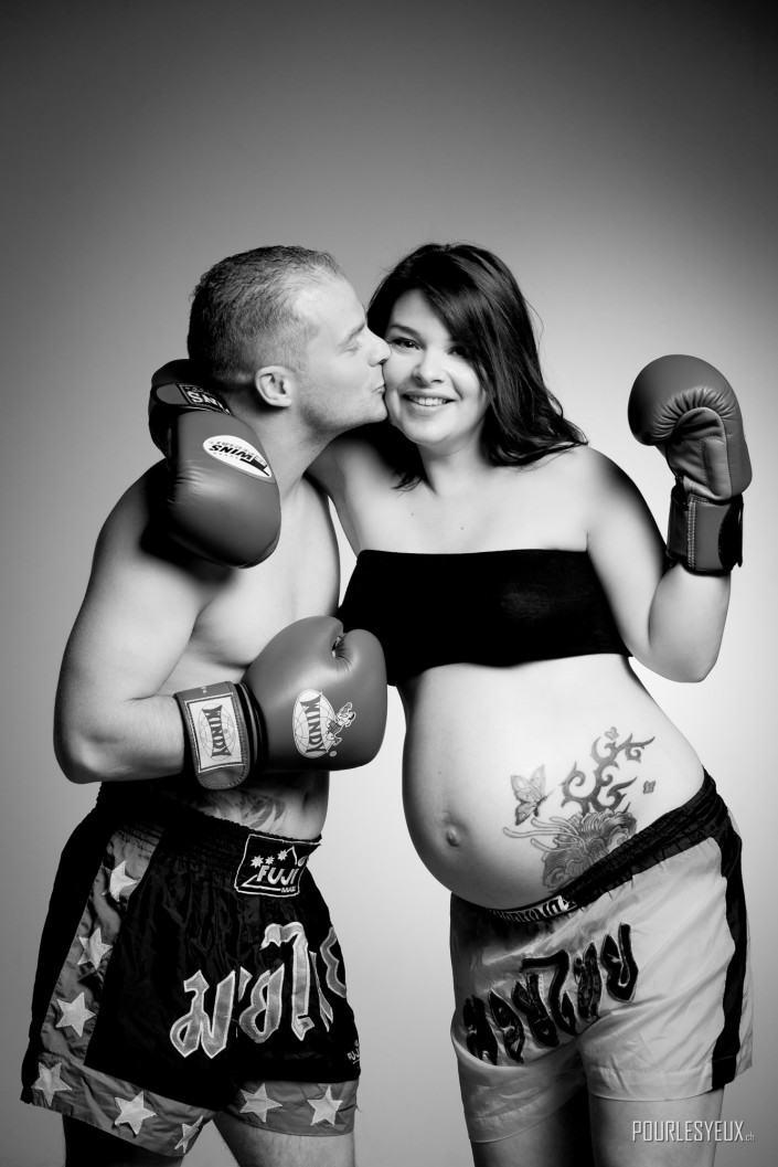 photographe geneve femme enceinte boxe nb
