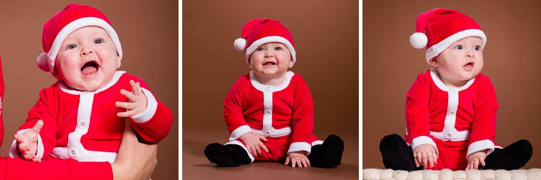 Photo de bébé en tenue de Mère Noël