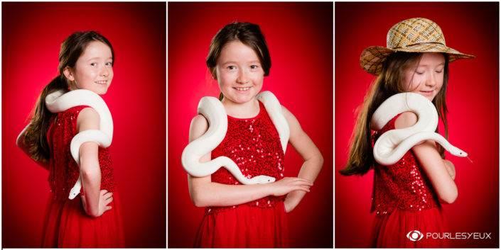Séance photo baptême découverte avec un serpent pour enfant à Genève