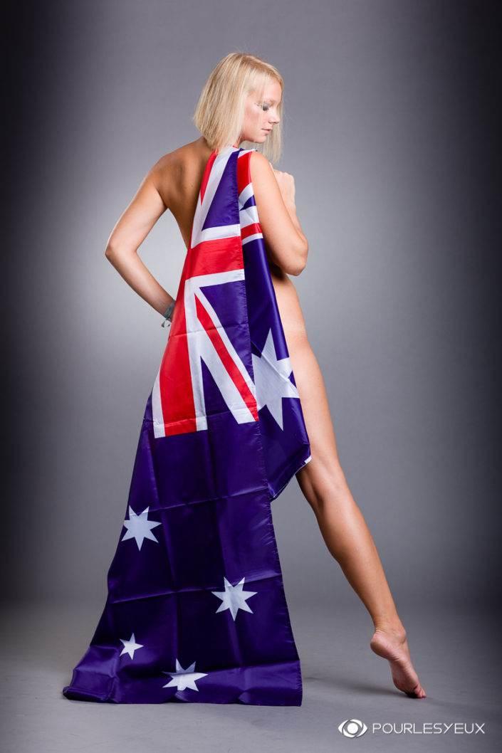 photographe Genève femme glamour nue drapeau Australie