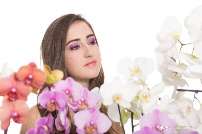 photographe genève mode fashion femme portrait orchidée fleurs maquillage maquilleuse